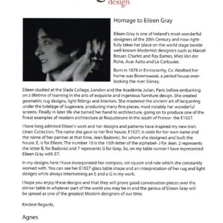Homage to Eileen Gray in Irish linen.